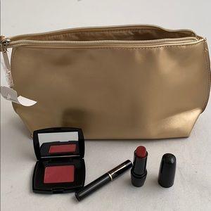 Lancôme gold cosmetic bag & lipstick/mascara/blush